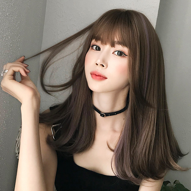 Synthetic Wig Curly With Bangs Wig Long Brown Synthetic Hair 18 inch Women's Soft Classic Fluffy Brown