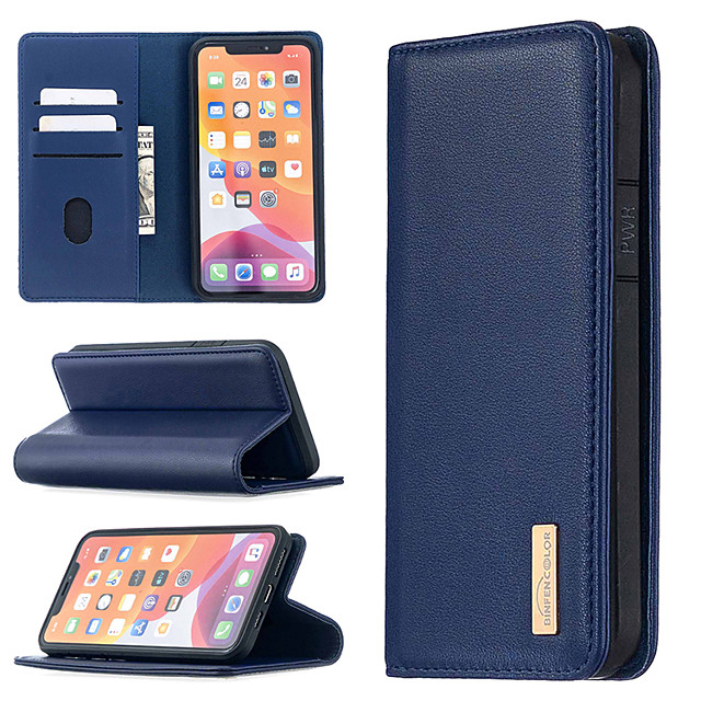 Case for iPhone 12 11 X Xr Xs 7 8 Plus Genuine Leather Case Folio Wallet Magnetic Protective Phone Case Shock Absorbing Card Holder Kickstand Mobile Phone Case for iPhone 11 Pro Max