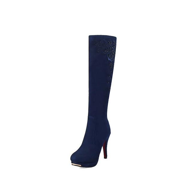 Women's Boots Stiletto Heel Round Toe Knee High Boots Classic Daily Nubuck Solid Colored Black Blue Brown
