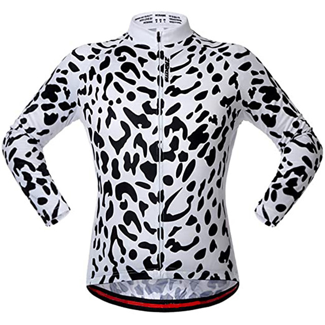 21Grams Men's Long Sleeve Cycling Jacket Black / White Leopard Bike Jersey Top Mountain Bike MTB Road Bike Cycling UV Resistant Breathable Quick Dry Sports Clothing Apparel / Stretchy