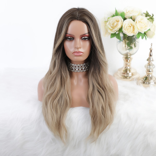 Cosplay Costume Wig Synthetic Wig Ombre Body Wave Silky Wavy Middle Part Wig Long Ombre Blonde Synthetic Hair 26 inch Women's Heat Resistant Party Fashion Brown Mixed Color EMMOR / Ombre Hair