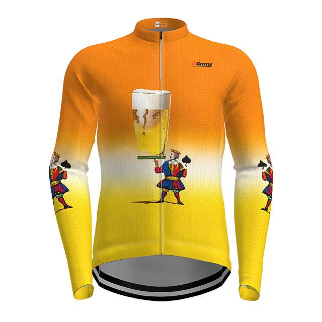 21Grams Men's Long Sleeve Cycling Jersey Orange Cartoon Bike Jersey Top Mountain Bike MTB Road Bike Cycling Quick Dry Sports Clothing Apparel / Micro-elastic