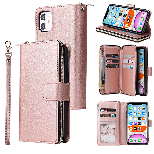 Case For Apple iPhone 12 / iPhone 11 / iPhone 12 Pro Max Card Holder / Flip / Magnetic Full Body Cases Solid Colored PU Leather