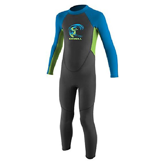 o'neill toddler reactor-2 2mm back zip full wetsuit, blue/slate/coral, 1