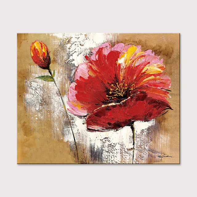Oil Painting Hand Painted - Abstract Floral / Botanical Modern Rolled Canvas (No Frame)