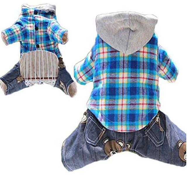 pet dogs cartoon casual plaid hoodie four-legged jumpsuit overalls (l, blue)