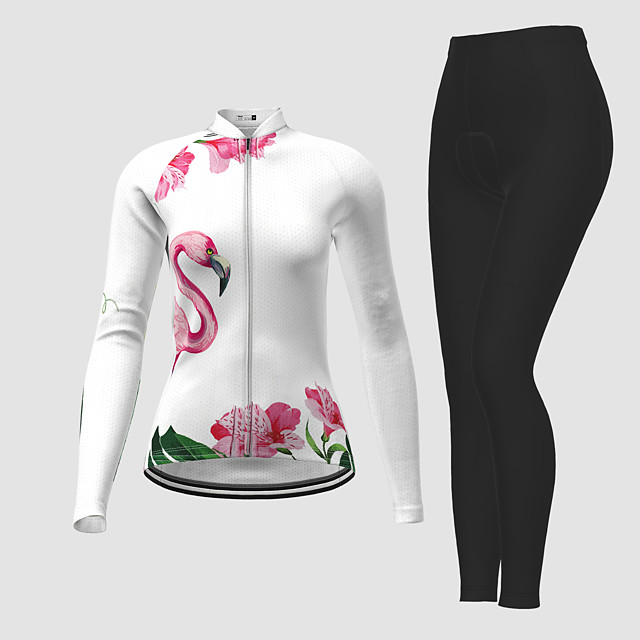 21Grams Women's Long Sleeve Cycling Jersey with Tights Winter Polyester White Flamingo Floral Botanical Bike Jersey Tights Clothing Suit Breathable Quick Dry Moisture Wicking Back Pocket Sports