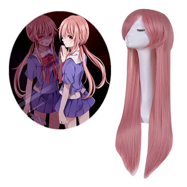 Synthetic Wig The Future Diary Straight With Bangs Wig Very Long Pink Synthetic Hair Women's Anime Cosplay Adorable Pink
