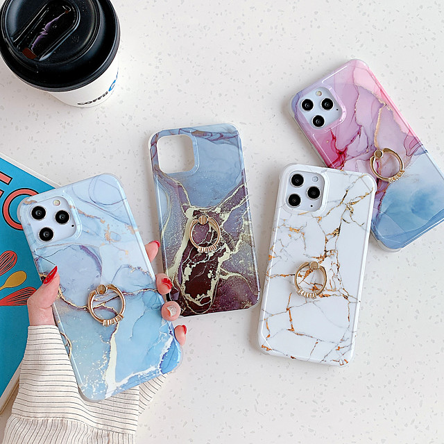 Case For iPhone 7 8 7plus 8plus X XR XS XSMax SE(2020) iPhone 11 11Pro 11ProMax iPhone 12 Shockproof Ring Holder IMD Ultra-thin Back Cover Marble TPU