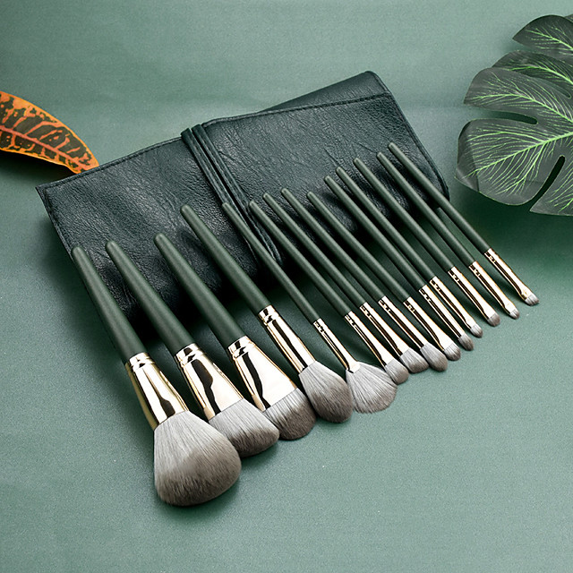 14 Pcs Green Makeup Brush Set Soft Eye Shadow Brush For Beginners Loose Powder Brush Beauty Tool