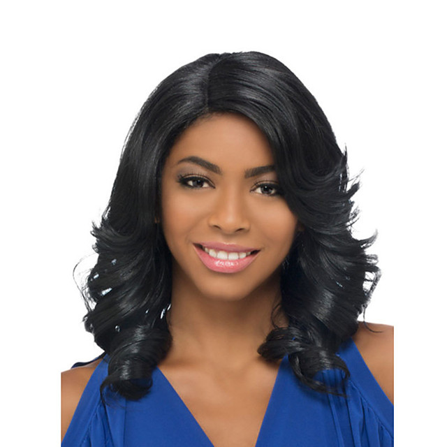 Synthetic Wig Loose Curl Asymmetrical Wig Medium Length Black Synthetic Hair Women's Fashionable Design Fluffy Waterfall Black