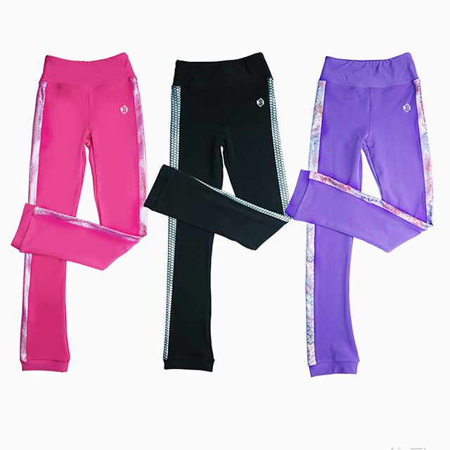 Figure Skating Pants Women's Girls' Ice Skating Pants / Trousers Black Purple Pink Stretchy Training Skating Wear Warm Patchwork Ice Skating Winter Sports Figure Skating / Kids