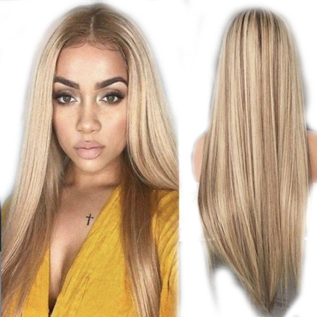 Synthetic Wig kinky Straight Natural Straight Middle Part Wig Long Light Blonde Synthetic Hair Women's Party Easy to Carry Comfortable Blonde