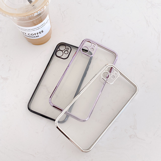 Case For iPhone 11 Shockproof / Plating Back Cover Transparent TPU Case For iPhone 12 / 11 Pro Max / SE2020 / XS Max / XR XS 7 / 8 7 / 8 plus