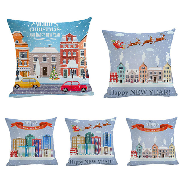 1 Set of 5 pcs Christmas Series Decorative Linen Throw Pillow Cover for Christmas Gift Home Decoration,18 x 18 inches 45 x 45 cm