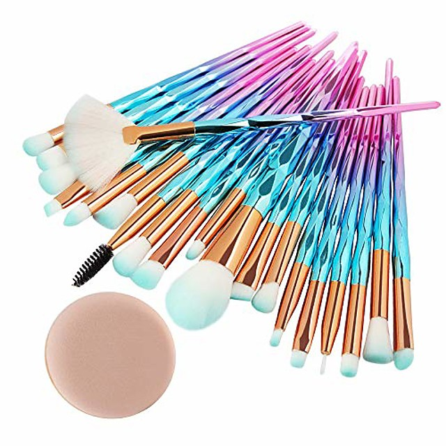 20pcs/set makeup brushes set, professional cosmetic for foundation blending blush concealer eye shadow brushes with 1 powder puff & # 40; and& #41;