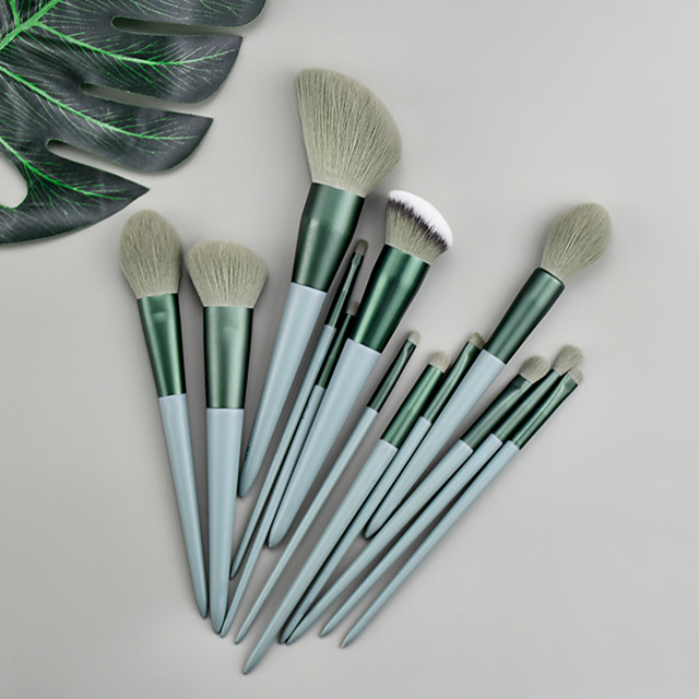 Makeup Brushes 13 Pcs Green Makeup Brush Set Premium Synthetic  Foundation Blending Face Powder Mineral Eyeshadow Make Up Brushes Set