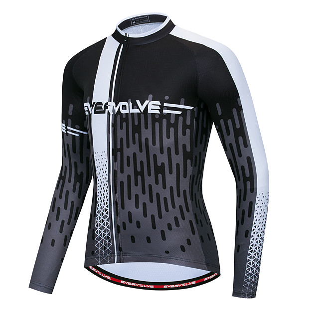 Men's Long Sleeve Cycling Jersey Black / White Bike Quick Dry Sports Geometic Clothing Apparel / Micro-elastic