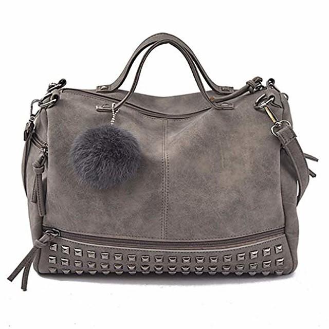 women purses and handbags rivet crossbody purse hobo bag leather studded tote top handle satchel shoulder for ladies (gray)