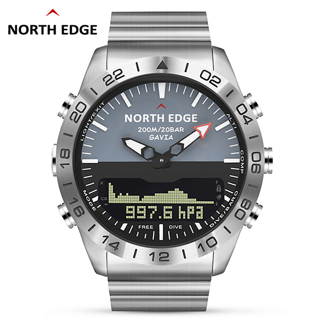 NORTH EDGE GAVIA 2 Men Dive Sports Digital watch Mens Watches Military Army Luxury Full Steel Business Waterproof 200m Altimeter Compass