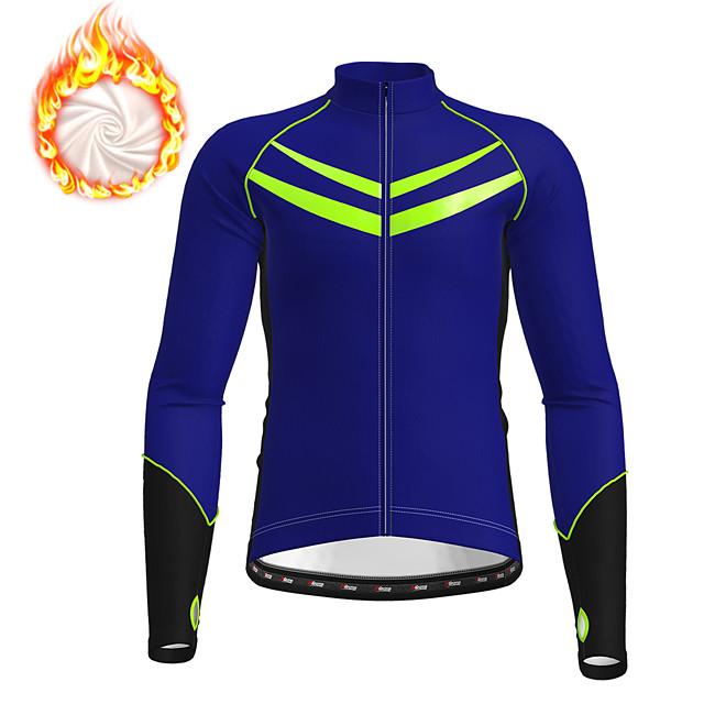 21Grams Men's Long Sleeve Cycling Jacket Winter Fleece Polyester Black Blue Dark Gray Novelty Bike Jacket Top Mountain Bike MTB Road Bike Cycling Fleece Lining Warm Back Pocket Sports Clothing Apparel
