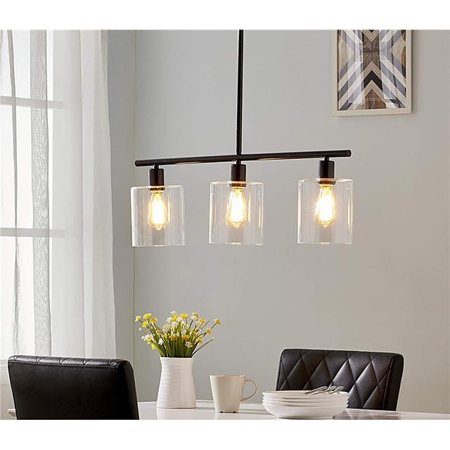 3-Light 80 cm Cluster Design Line Design Island Design Pendant Light Metal Glass Electroplated Painted Finishes Black Vintage Island 110-120V 220-240V