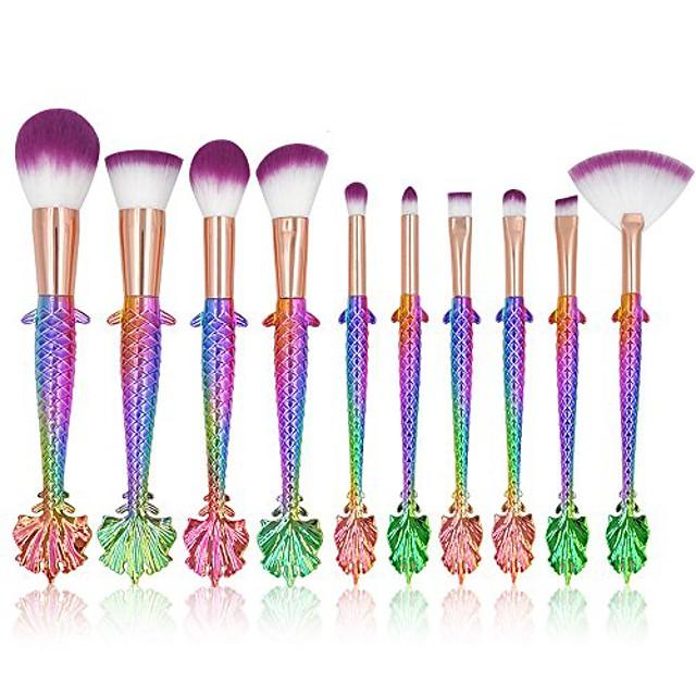 10pcs mermaid makeup brushes set eyebrow eyeliner blush foudation cosmetic tools
