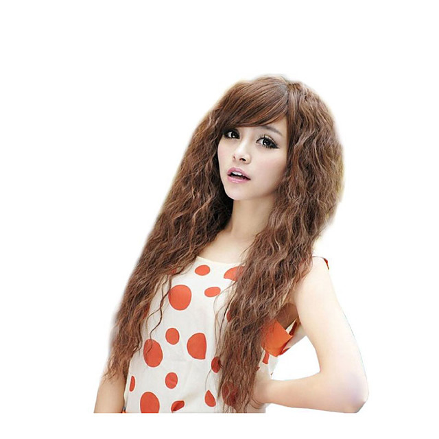 Synthetic Wig Wavy Loose Curl Asymmetrical Wig Very Long Light Brown Synthetic Hair Women's Classic Coloring Waterfall Light Brown