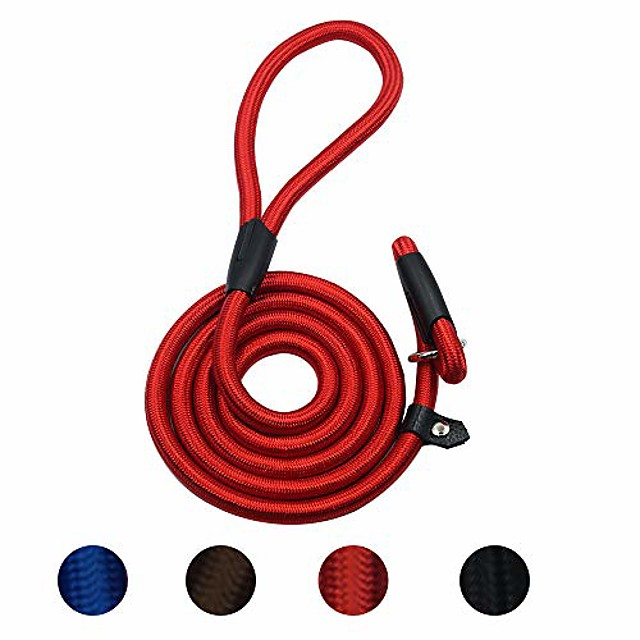 durable dog slip leash rope, 4.5 ft dog training leash, strong slip lead, standard adjustable pet slipknot nylon leash for small medium dogs(10-80 lb) red