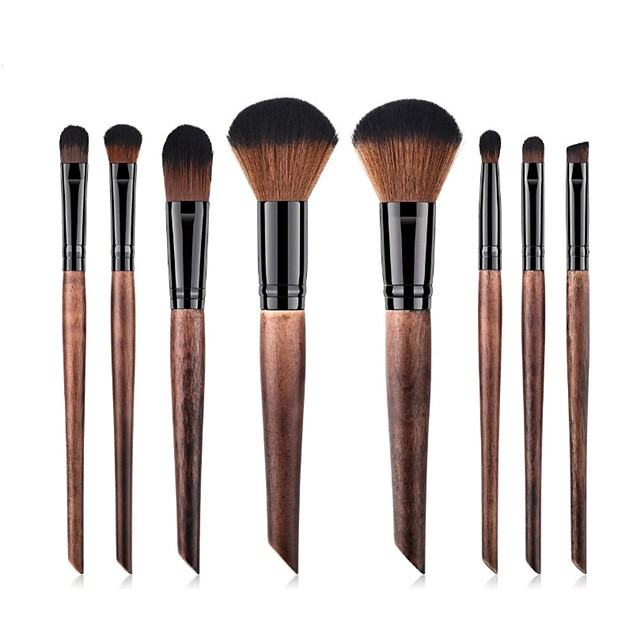 8 Pcs Imitation Mahogany Oblique Tail Handle Makeup Brush Set Blush Eye Shadow Contour Concealer