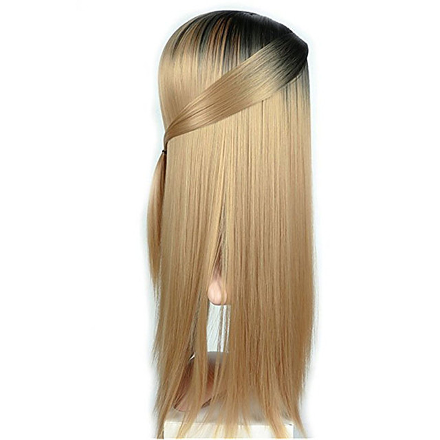 Synthetic Wig Straight kinky Straight Middle Part Wig Very Long Black / Gold Grey Burgundy Synthetic Hair Women's Ombre Hair Dark Gray Burgundy