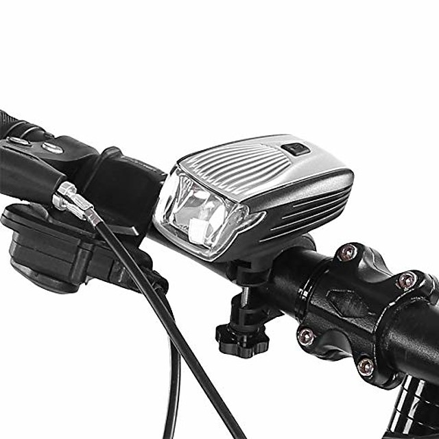 bike head light, ipx5 waterproof led bicycle front light usb rechargeable bike accessory(silver)