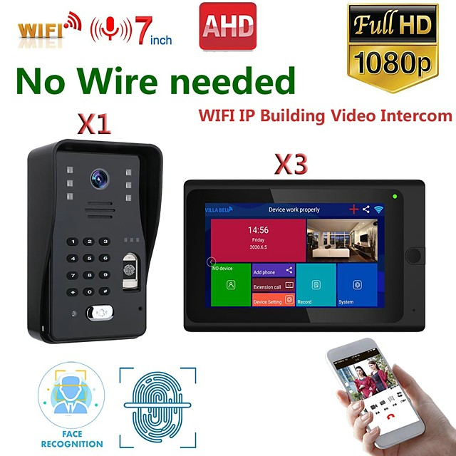 MOUNTAINONE SY706B018WF13 7 Inch Wireless WiFi Smart IP Video Door Phone Intercom System With One 1080P Wired Doorbell Camera And 3x Monitor  Support Remote Unlock
