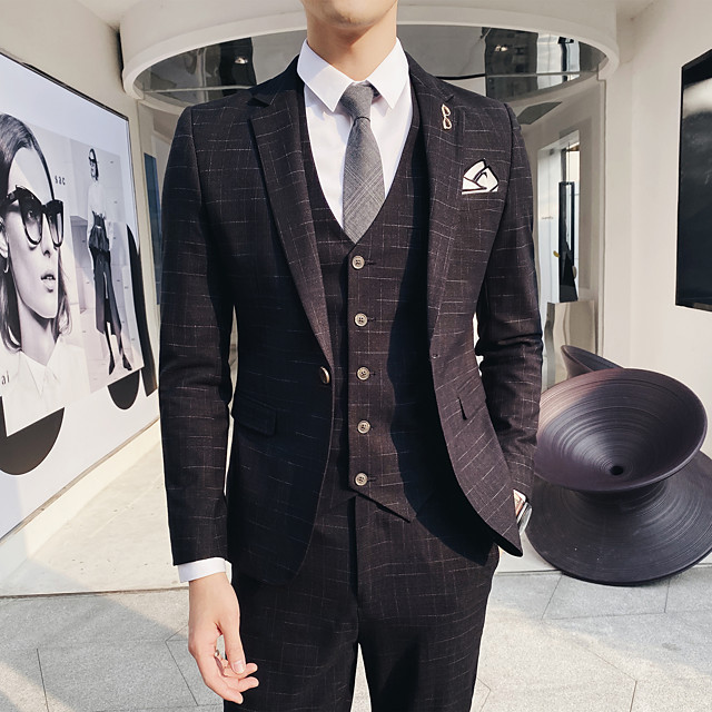 Tuxedos Standard Fit Notch Single Breasted One-button Polyester Stripes