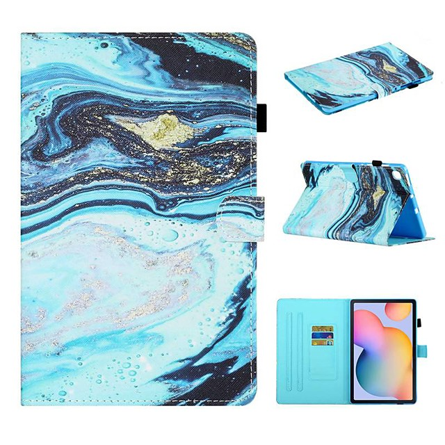 Case For Samsung Galaxy  Tab A 10.1 2019 T510 T515 Tab A 8.0 2019 T290 295 Tab S6 Lite SM-P610 615 Wallet Card Holder with Stand Full Body Cases Marble PU Leather