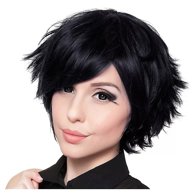 Cosplay Wig Short Black Straight Layered Haircut Asymmetrical Wig Short Black Synthetic Hair Women's Anime Cosplay Exquisite Black