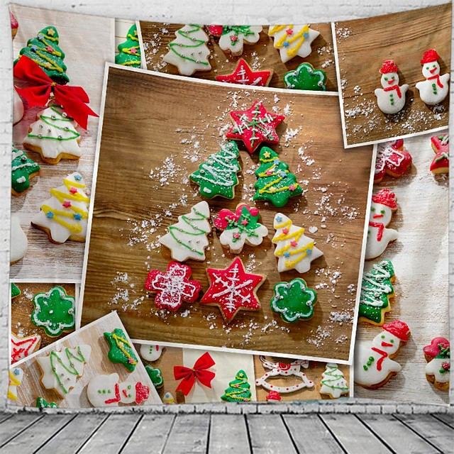 Christmas Wall Tapestry Art Decor Blanket Curtain Picnic Tablecloth Hanging Home Bedroom Living Room Dorm Decoration Polyester Gift Snowman