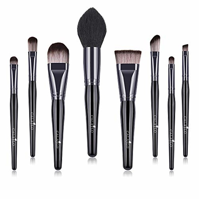 makeup brushes 8pcs makup brush set synthetic foundation powder brush concealers eyeshadow eyebrow blending brush kit conical wooden handle. & #40;black black& #41;