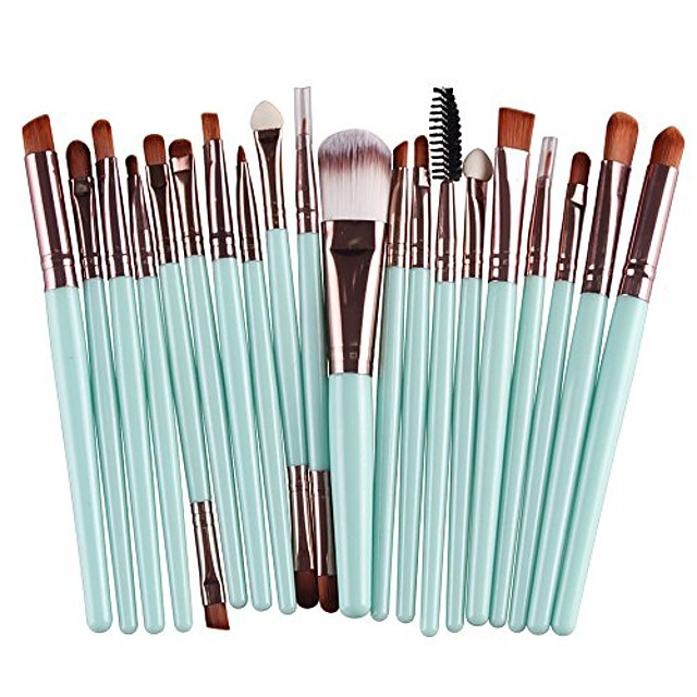 20 pcs makeup brush set tools make-up toiletry kit wool make up brush set& #40;coffee& #41;