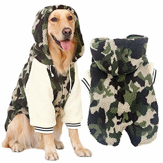 winter warm fleece jacket big large dog coat woodland camouflage dog puppy hoodie pajamas clothing warm cozy for golden retriever pitbull dog clothes 7xl