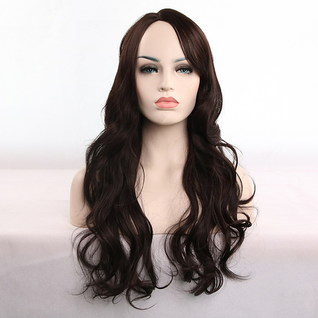 Synthetic Wig Curly Body Wave Asymmetrical Wig Long Dark Brown Synthetic Hair 28 inch Women's Soft Party Easy to Carry Dark Brown