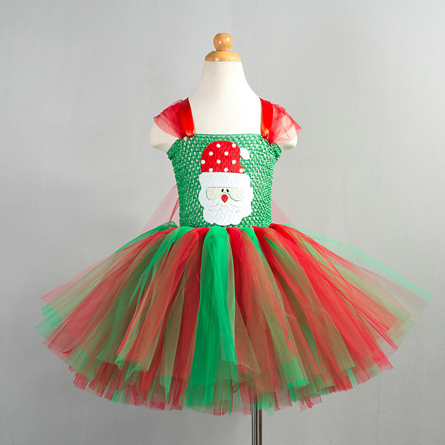 Santa Claus Cosplay Costume Costume Girls' Movie Cosplay Tutus Plaited Vacation Dress Red / Green Dress Christmas Halloween Carnival Polyester / Cotton Polyester