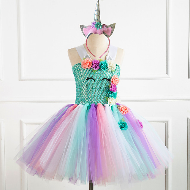 Unicorn Dress Girls' Movie Cosplay Vacation Dress New Year's White / Purple / Pink Dress Headwear Christmas Halloween Carnival Polyester / Cotton Polyester