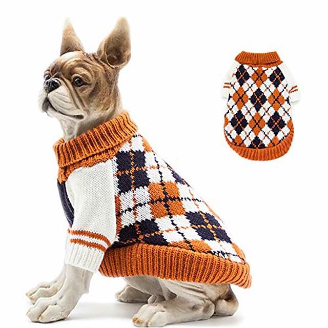 knitted high collar diamond plaid cat dog sweater, cat dog accessories, cat dog apparel, pet sweatshirt
