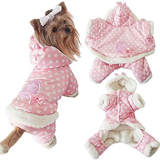fashion shop puppy cute winter warm hooded coat jacket snowsuit clothes apparel with wave point printing (xxl)