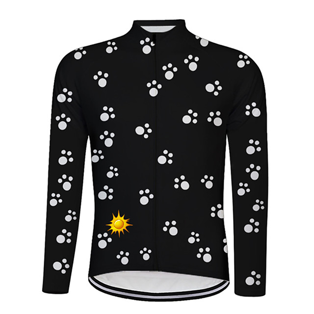 21Grams Men's Long Sleeve Cycling Jersey White Black Bike Jersey Top Mountain Bike MTB Road Bike Cycling UV Resistant Breathable Quick Dry Sports Clothing Apparel / Stretchy