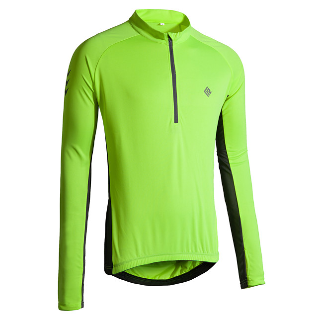 KORAMAN Men's Long Sleeve Cycling Jersey Winter Polyester Red Blue Green Solid Color Bike Jersey Top Mountain Bike MTB Road Bike Cycling Breathable Quick Dry Reflective Strips Sports Clothing Apparel