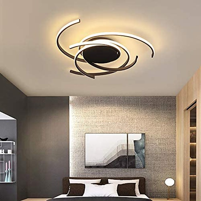 1-Light 56 cm Flush Mount Lights Aluminum Silica gel Geometric Painted Finishes 72W Dimmable with Remote Control for Kitchen Bedroom Home Lighting
