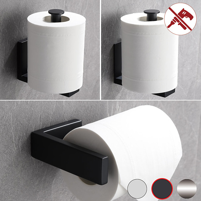 Toilet Paper Holder Bathroom Tissue Holder 304 Stainless Steel Punchable or Pasteable Wall Mounted 1pc