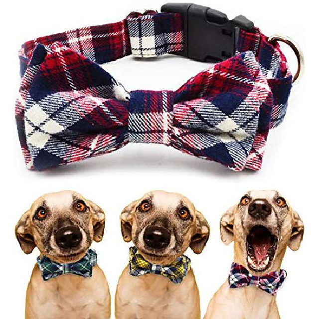 dog collar with bow tie - adjustable 100% hand made cotton design - cute fashion dog collars with bow ties for small medium large dogs - red,brown,blue,green,yellow plaid stripe pattern